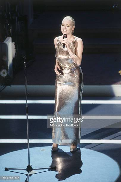 Anna Oxa with her eyes closed during her performance on the stage of the Teatro Ariston at the XLIV edition of the Sanremo music festival on this...