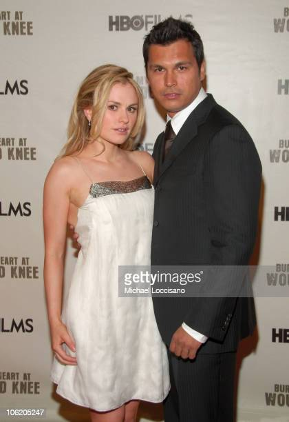 Anna Paquin and Adam Beach during The World Premiere of HBO Film's 'Bury My Heart at Wounded Knee' Arrivals at American Museum of Natural History in...