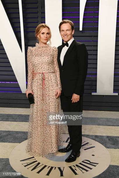 Anna Paquin and Stephen Moyer attend the 2019 Vanity Fair Oscar Party hosted by Radhika Jones at Wallis Annenberg Center for the Performing Arts on...