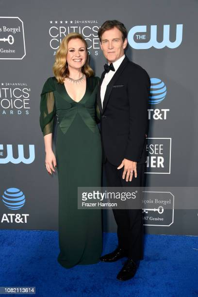 Anna Paquin and Stephen Moyer attend the 24th annual Critics' Choice Awards at Barker Hangar on January 13 2019 in Santa Monica California