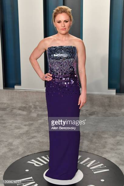 Anna Paquin arrives at the 2020 Vanity Fair Oscar Party hosted by Radhika Jones at Wallis Annenberg Center for the Performing Arts on February 09...
