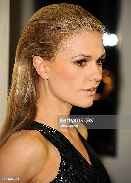 Anna Paquin arrives at the Tom Ford Cocktails In Support Of Project Angel Food at TOM FORD on February 21 2013 in Beverly Hills California
