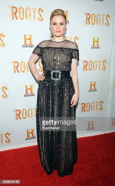 Anna Paquin attends the premiere screening of 'Night One' of the four night epic event series 'Roots' hosted by HISTORY at Alice Tully Hall on May 23...