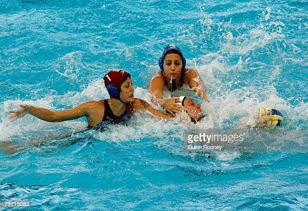 Anna Pardo Perarnau and Patricia Del Soto Traver of Spain grapple for the ball during the Women's Quarter Final Round Water Polo match between the...