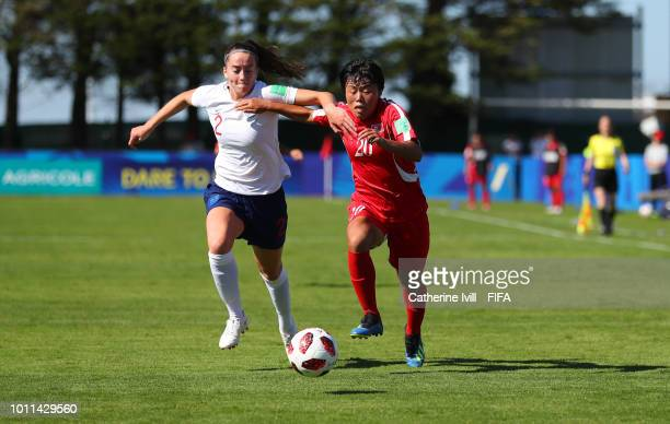 Anna Patten of England battles with Kum Ok Choe of Korea DPR during the FIFA U20 Women's World Cup France 2018 group B match between Korea DPR and...