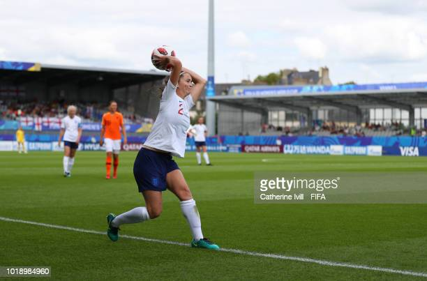 Anna Patten of England takes a throw in during the FIFA U20 Women's World Cup France 2018 Quarter Final quarter final match between England and...