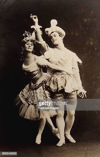Anna Pavlova and Vaslav Nijinsky in the ballet Le Pavillon d'Armide by Nikolai Tcherepnin, 1907. Private Collection. Artist : Fischer, Karl August .