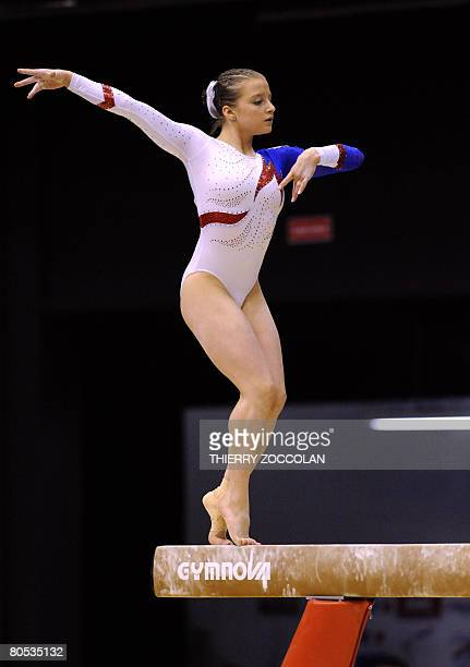 Anna Pavlova member of the Russian senior team performs on vault during the Euro2008 women artistic gymnastics championships on April 5 2008 in...