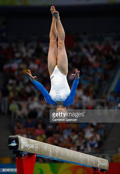 Anna Pavlova of Russia competes during the Women's Beam Final at the National Indoor Stadium on Day 11 of the Beijing 2008 Olympic Games on August 19...