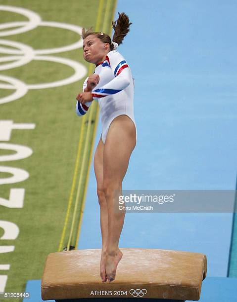 Anna Pavlova of Russia competes in the women's artistic gymnastics vault finals on August 22 2004 during the Athens 2004 Summer Olympic Games at the...