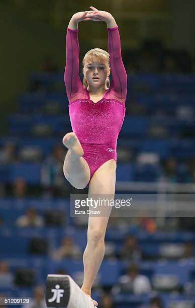 Anna Pavlova of Russia competes in the women's artistic gymnastics balance beam finals on August 23 2004 during the Athens 2004 Summer Olympic Games...