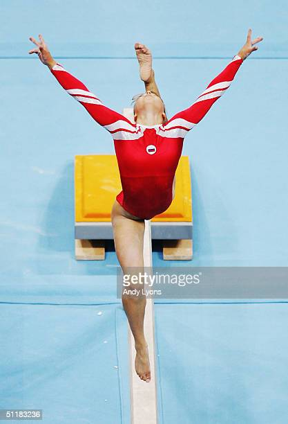 Anna Pavlova of Russia competes on the balance beam at the women's artistic gymnastics team final competition on August 17 2004 during the Athens...