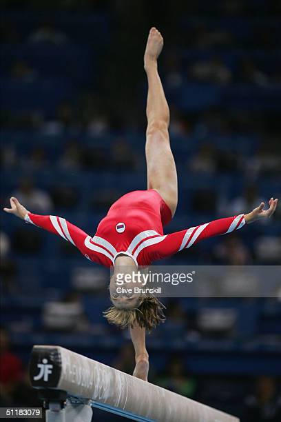 Anna Pavlova of Russia competes on the beam at the women's artistic gymnastics team final uneven on August 17 2004 during the Athens 2004 Summer...