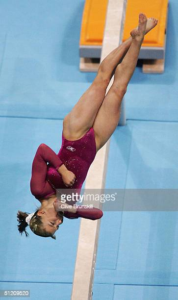 Anna Pavlova of Russia dismounts from the balance beam in the women's artistic gymnastics balance beam finals on August 23 2004 during the Athens...