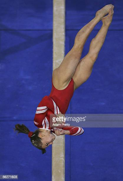 Anna Pavlova of Russia in action on the Beam during the Womens Individual AllAround Final of the 2005 World Gymnastics Championship at Rod Laver...