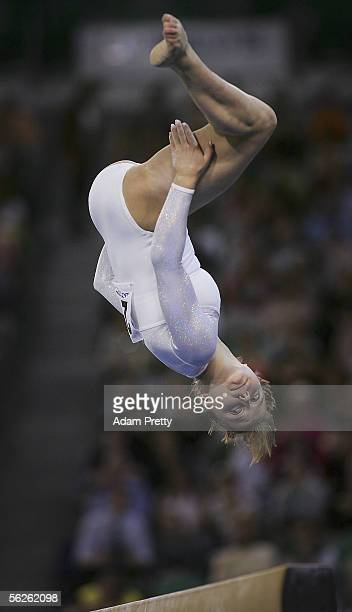 Anna Pavlova of Russia in action on the Beam during Womens Qualifying on day 2 of the 2005 World Gymnastics Championships at Rod Laver Arena November...