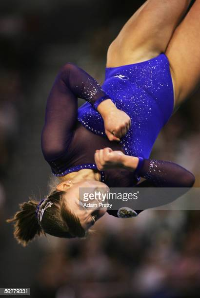 Anna Pavlova of Russia in action on the Floor during the Apparatus finals of the 2005 World Gymnastics Championships at Rod Laver Arena November 27...