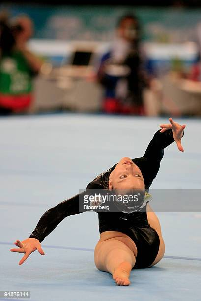Anna Pavlova of Russia performs her floor routine in the women's artistic gymnastics apparatus finals at the 2008 Beijing Olympics in Beijing China...