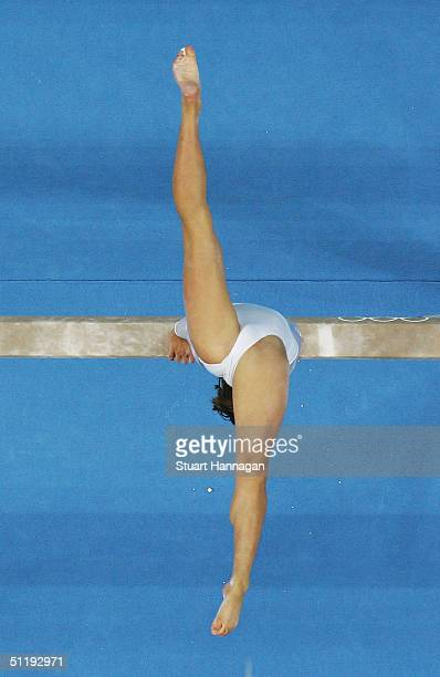 Anna Pavlova of Russia performs on the balance beam during the women's artistic gymnastics individual competition on August 19 2004 during the Athens...