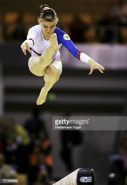 Anna Pavlova of Russia performs on the beam in the womens qualification during the World Artistic Gymnastics Championships at the NRGi Arena on...