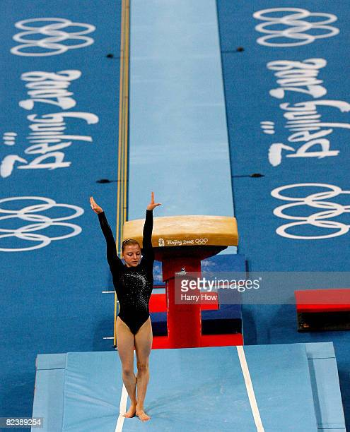 Anna Pavlova of Russia reacts after competing in the women's individual vault final during the artistic gymnastics event held in National Indoor...