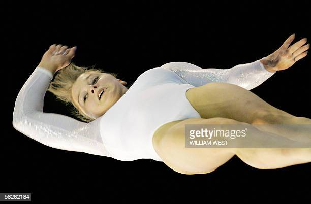 Anna Pavlova of Russia sails through the air during her routine on the floor in the women's qualification at the 38th Artistic Gymnastics World...