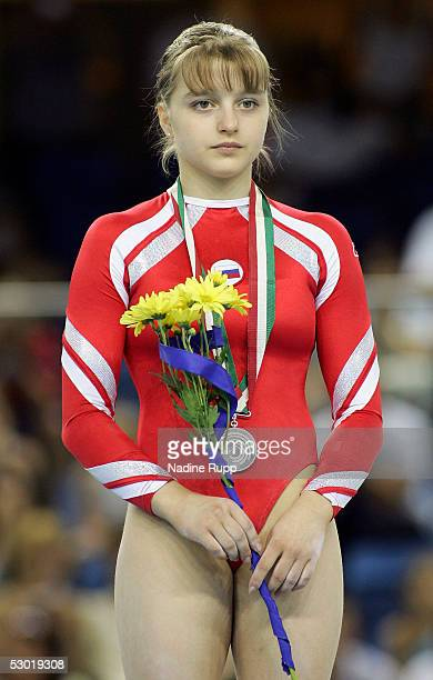 Anna Pavlova of Russia wins the silver medal for the european women's champion all round finals of the Gymnastics European Championships on June 4...