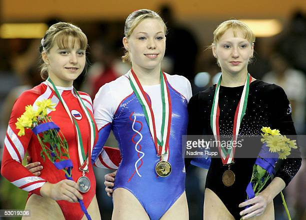 Anna Pavlova of Russia/silver medal Marine Debauve of France/gold medal and Yulia Lozhecko of Russia/bronze medal during the medal ceremony for the...