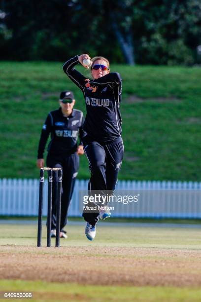Anna peterson bowling during the Women's One Day International match between the New Zealand White Ferns and the Australia Southern Stars on March 2...
