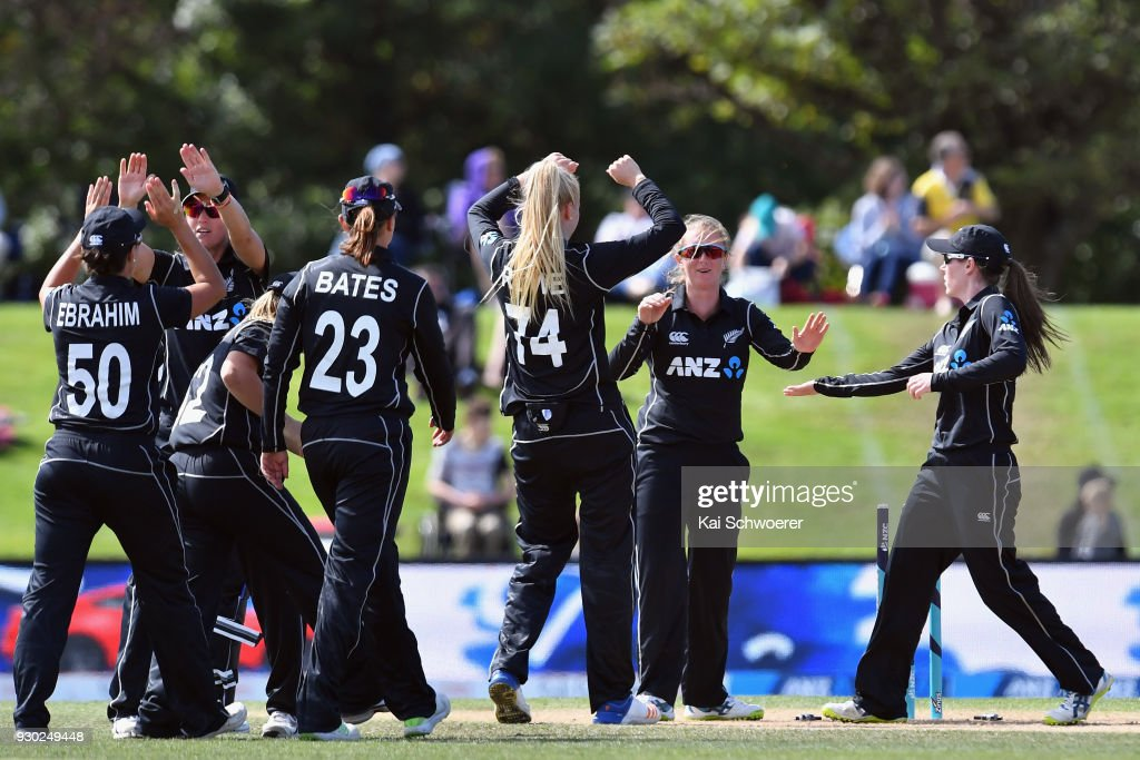 Anna Peterson of New Zealand and her team mates celebrate after Kycia Knight of the West Indies is run out during the Women's One Day International match between New Zealand and the West Indies on March 11, 2018 in Christchurch, New Zealand.