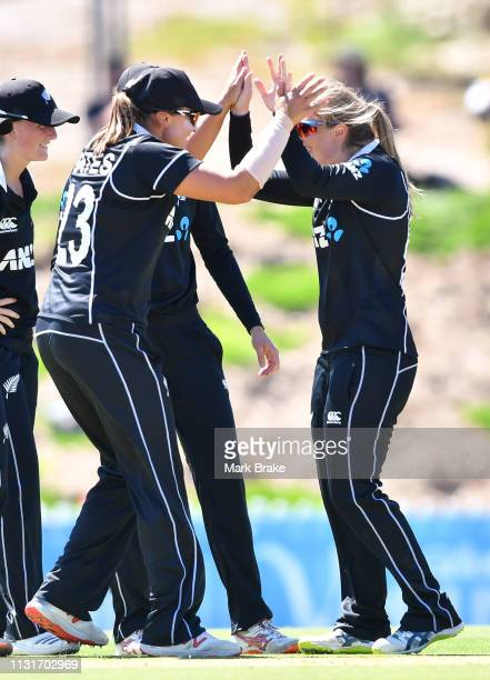 Anna Peterson of New Zealand celebrates after taking the wicket of Alyssa Healy of Australia during game two of the One Day International Series...