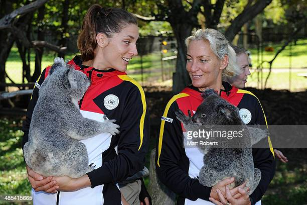 Anna Petkovic and Barbara Rittner of Germany hold koalas during the official draw ahead of the Fed Cup Semi Final tie between Australia and Germany...