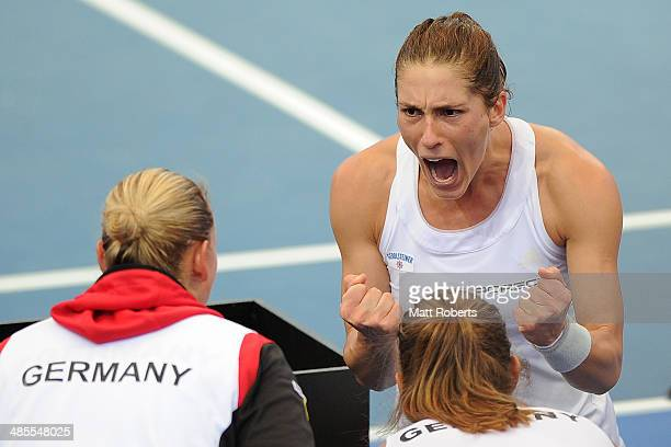 Anna Petkovic of Germany celebrates after winning her match against Samantha Stosur of Australia during the Fed Cup Semi Final tie between Australia...