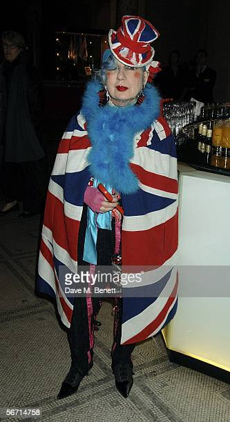 Anna Piaggi attends the private view for her new exhibition 'Fashionology' at the Victoria Albert Museum on January 31 2006 in London England The...