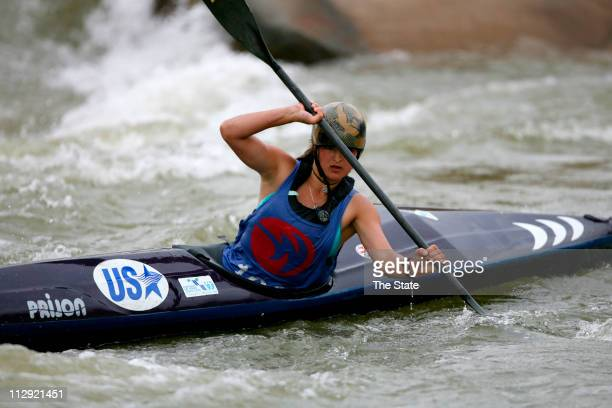 Anna Pierotti of Durango Colorado navigates through rapids as international teams practice at the US National Whitewater Center in Charlotte North...