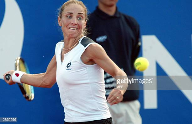 Anna Pistolesi of Israel vies with Croatian Jelena Kostanic, winning her second WTA title 4-6, 6-4, 6-0 in the Nordea Nordic Light Open final 10...
