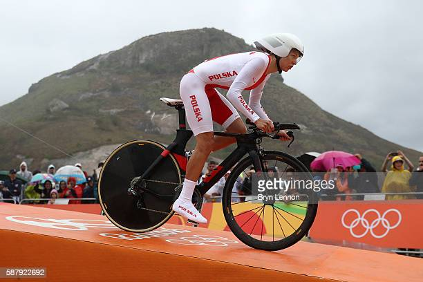 Anna Plichta of Poland starts the Cycling Road Women's Individual Time Trial on Day 5 of the Rio 2016 Olympic Games at Pontal on August 10, 2016 in...