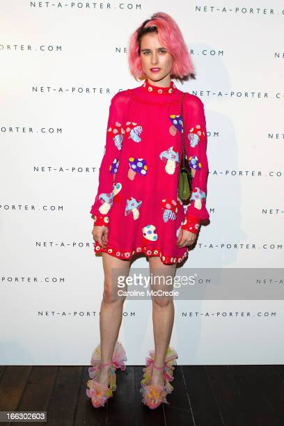 Anna Plunkett arrives at the NetaPortercom Fashion week cocktail party at Ananas on April 11 2013 in Sydney Australia