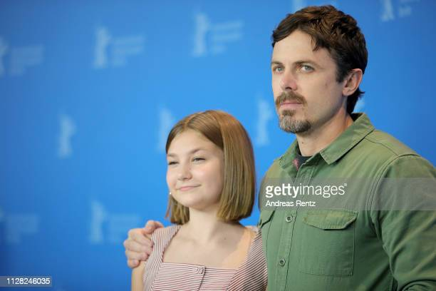 Anna Pniowsky and Casey Affleck pose at the Light Of My Life photocall during the 69th Berlinale International Film Festival Berlin at Grand Hyatt...