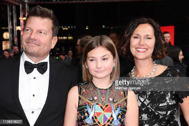 Anna Pniowsky and her parents attend the Light Of My Life premiere during the 69th Berlinale International Film Festival Berlin at Zoo Palast on...