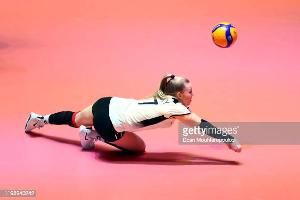 Anna Pogany of Germany returns the ball during the Women CEV Tokyo Volleyball European Qualification 2020 match between Germany and Croatia held at...