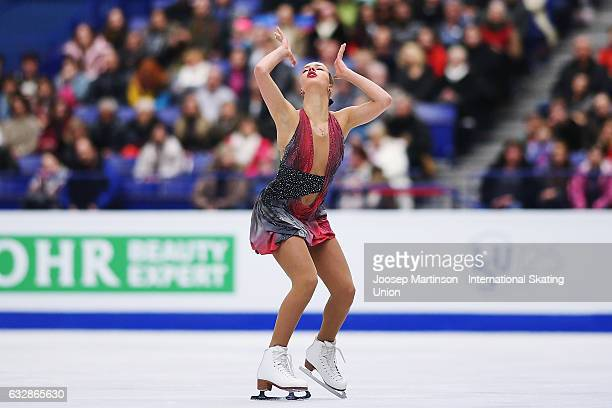 Anna Pogorilaya of Russia competes in the Ladies Free Skating during day 3 of the European Figure Skating Championships at Ostravar Arena on January...