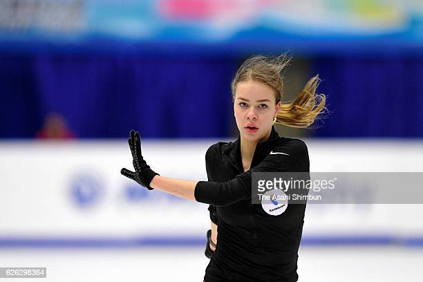 Anna Pogorilaya of Russia in action during a practice session prior to competing in Ladies Singles free skating during day two of the ISU Grand Prix...