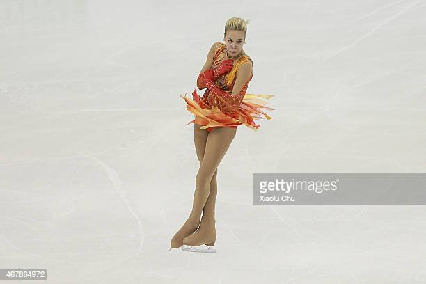 Anna Pogorilaya of Russia performs during the Ice DanceLadies Free Skating on day four of the 2015 ISU World Figure Skating Championships at Shanghai...
