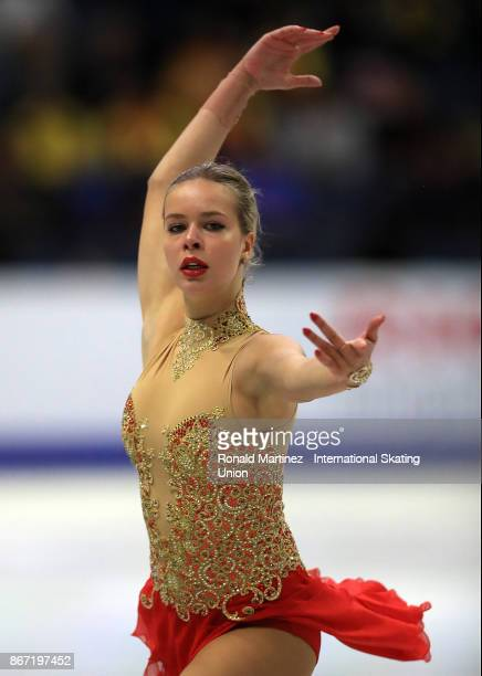 Anna Pogorilaya of Russia performs in the Ladie's short program during the ISU Grand Prix of Figure Skating at Brandt Centre on October 27 2017 in...