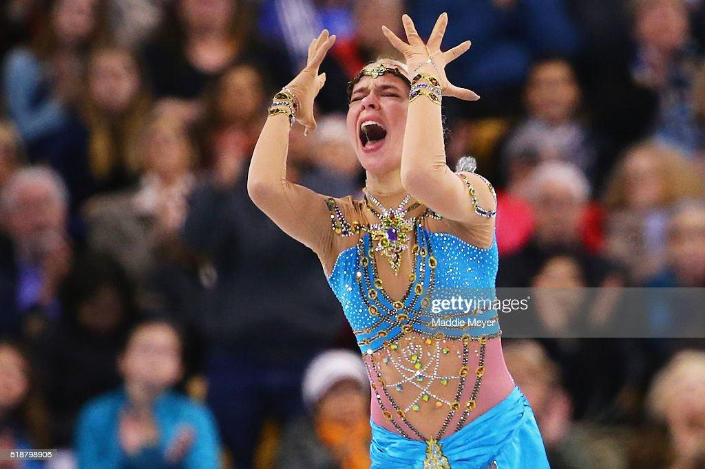 Anna Pogorilaya of Russia reacts after completing her routine in the Ladies Free Skate program on Day 6 of the ISU World Figure Skating Championships 2016 at TD Garden on April 2, 2016 in Boston, Massachusetts.