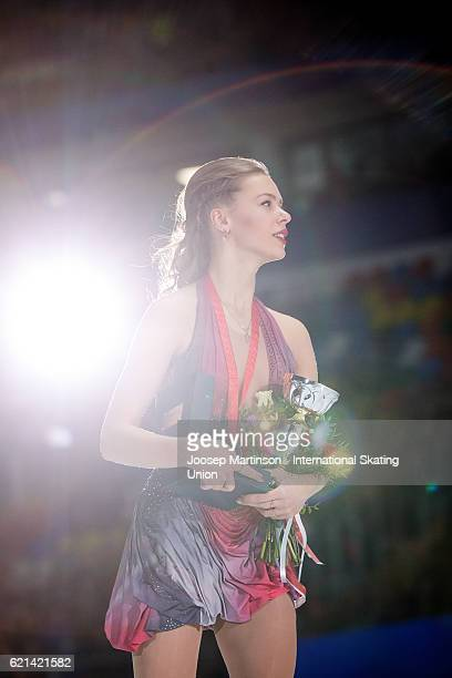 Anna Pogorilaya of Russia skates after the Ladies Singles Medal Ceremony on day three of the Rostelecom Cup ISU Grand Prix of Figure Skating at...