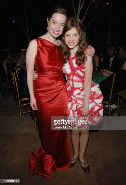 Anna Popplewell and Georgie Henley attend the The Chronicles of Narnia Prince Caspian New York Premiere After Party at New York Public Library in New...