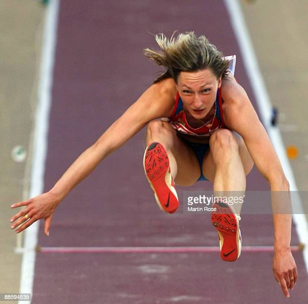 Anna Pyatykh of Russia competes during the women's triple jump at day one of the Spar European Team Championship at the Estadio Municipal DrMagalhaes...