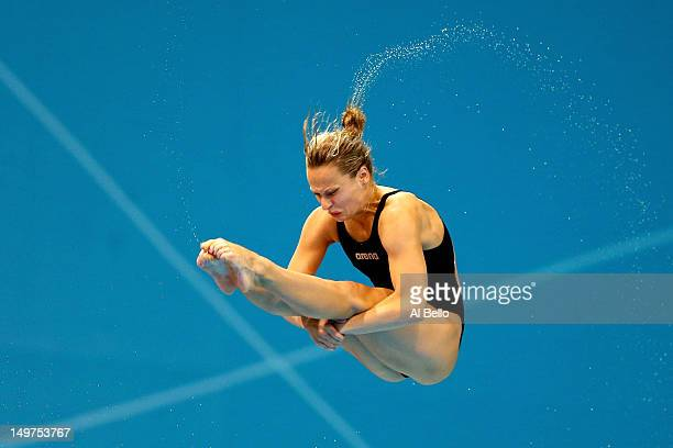 Anna Pysmenka of the Ukraine competes in the Women's 3m Springboard Diving Preliminary Round on Day 7 of the London 2012 Olympic Games at the...